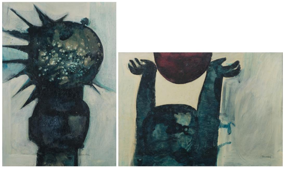 Bosschem W., 'Zonnegod I' and 'Zonnegod II', acrylic