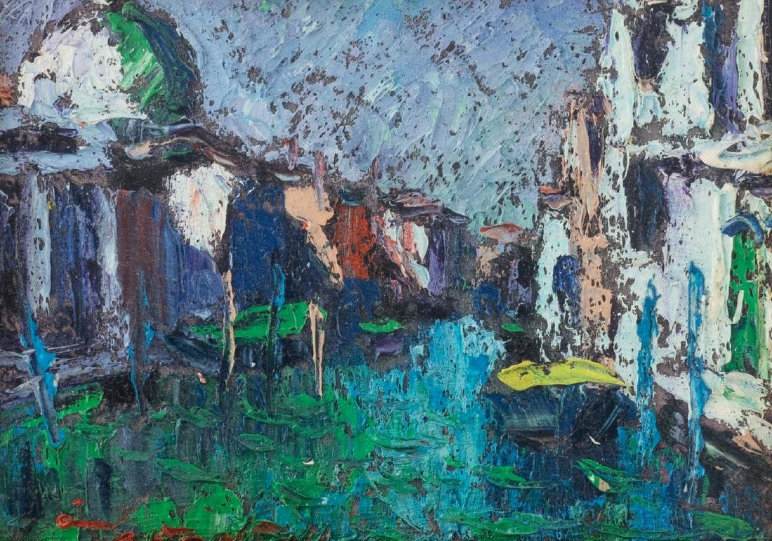 Illegibly signed, three views on Venice, oil on board, - 10