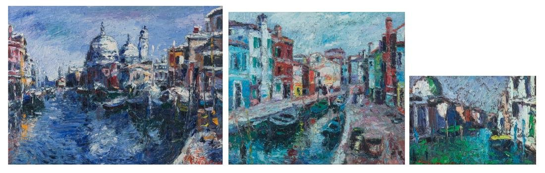 Illegibly signed, three views on Venice, oil on board,