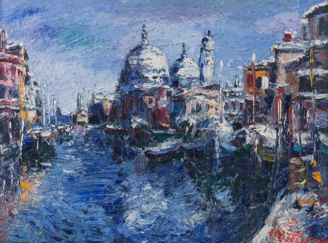 Illegibly signed, three views on Venice, oil on board, - 2