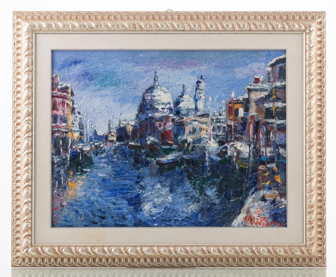 Illegibly signed, three views on Venice, oil on board, - 3