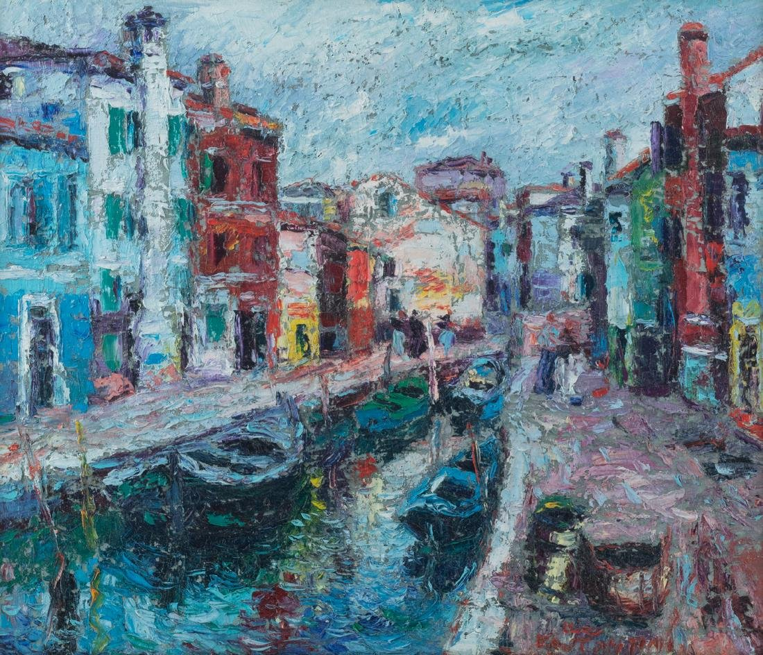 Illegibly signed, three views on Venice, oil on board, - 6