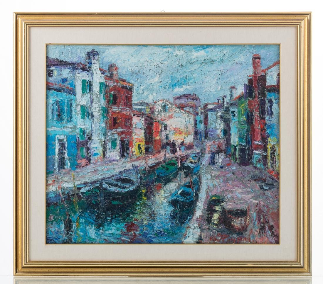 Illegibly signed, three views on Venice, oil on board, - 7