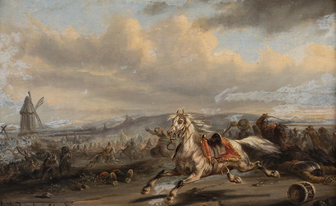 (Van Imschoot J.), an escaping cavalry horse in the