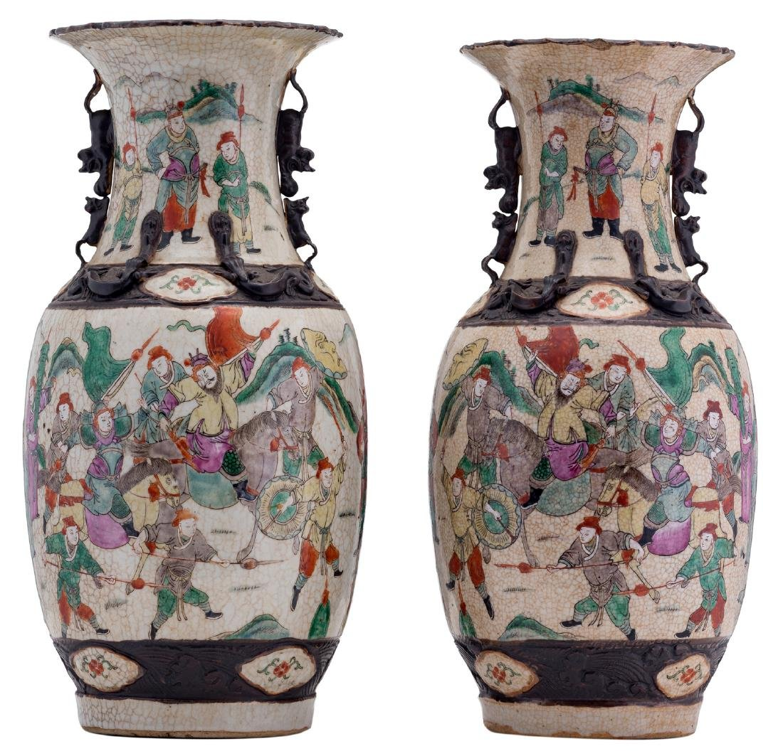 A pair of Chinese polychrome stoneware vases, overall