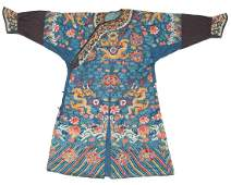 A Chinese embroidered blue ground silk and gold thread