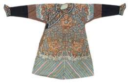 A Chinese Imperial brownish ground silk and gold thread