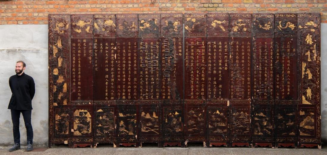 A Qing dynasty twelve panel coromandel lacquer screen - 3