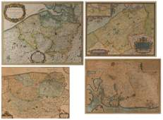 A lot of four antique maps a handcoloured 17 thC map