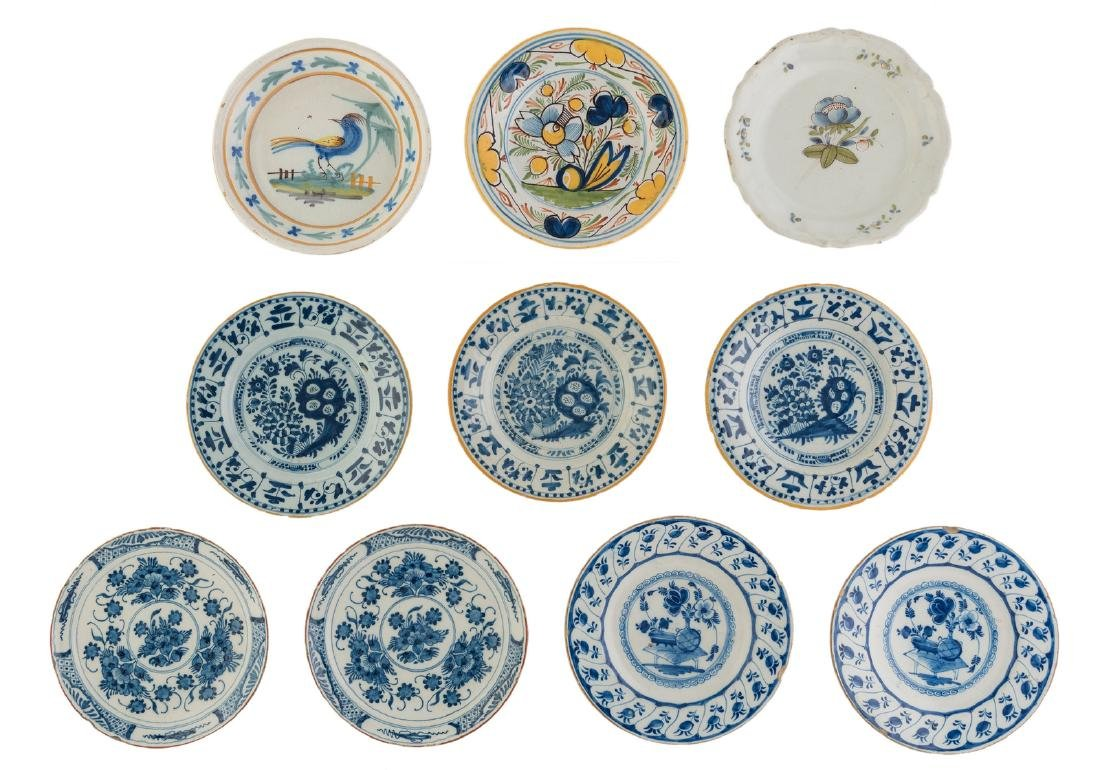 A lot of seven 18thC blue and white decorated Dutch