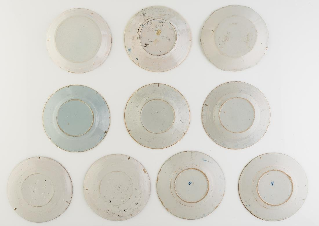 A lot of seven 18thC blue and white decorated Dutch - 2