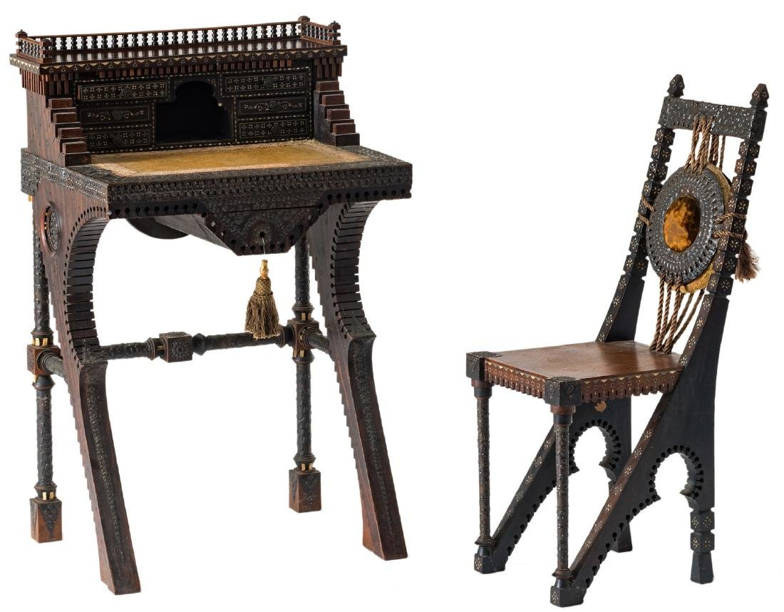 A ladies writing desk and a matching chair, Moorish