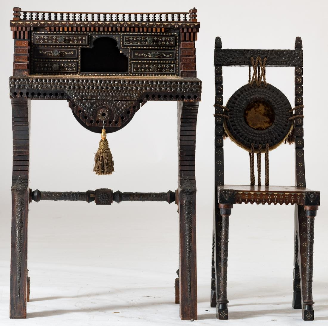 A ladies writing desk and a matching chair, Moorish - 2