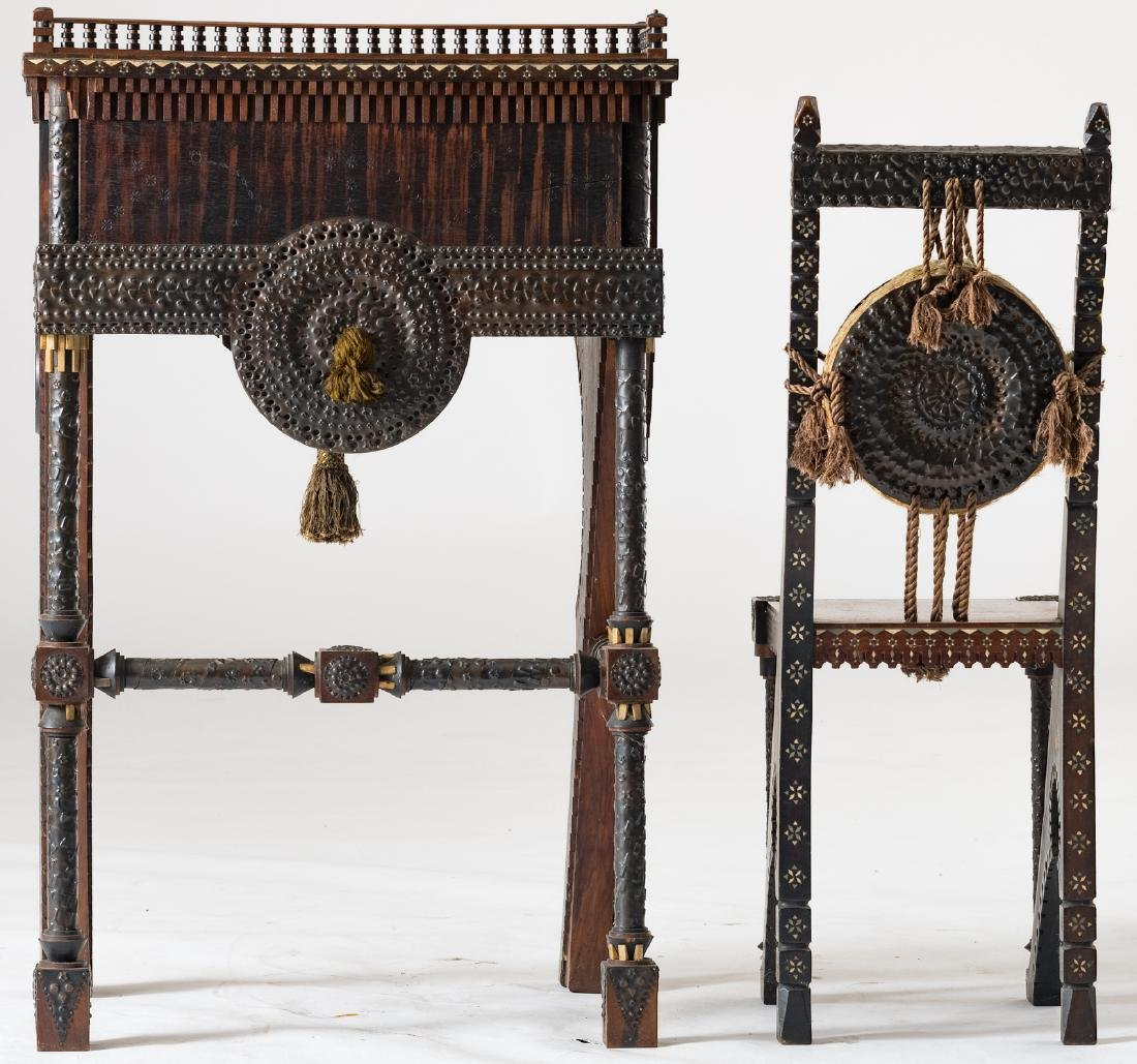 A ladies writing desk and a matching chair, Moorish - 4