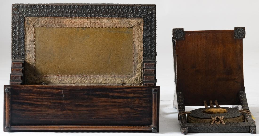 A ladies writing desk and a matching chair, Moorish - 6