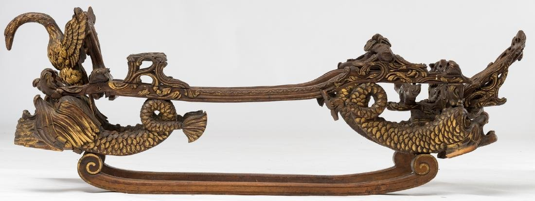 A rare 19thC stained and gilt walnut sledge, richly scu - 4