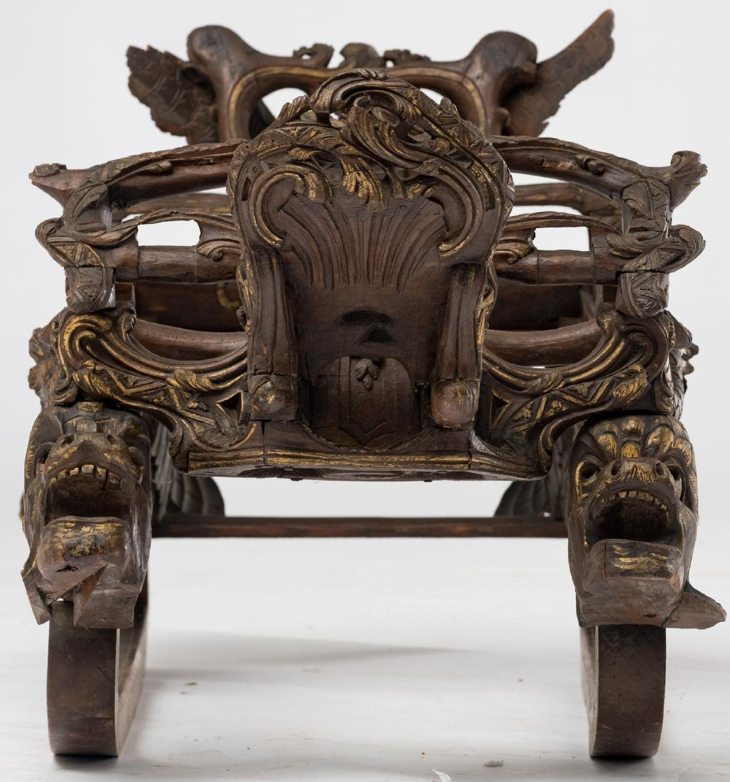A rare 19thC stained and gilt walnut sledge, richly scu - 5