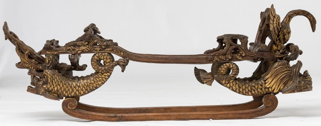 A rare 19thC stained and gilt walnut sledge, richly scu - 6