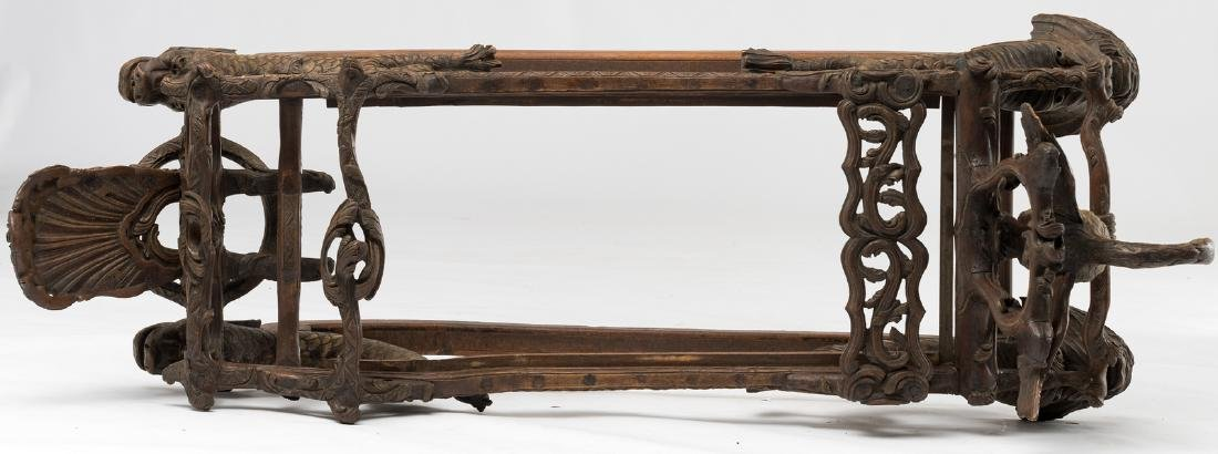 A rare 19thC stained and gilt walnut sledge, richly scu - 7