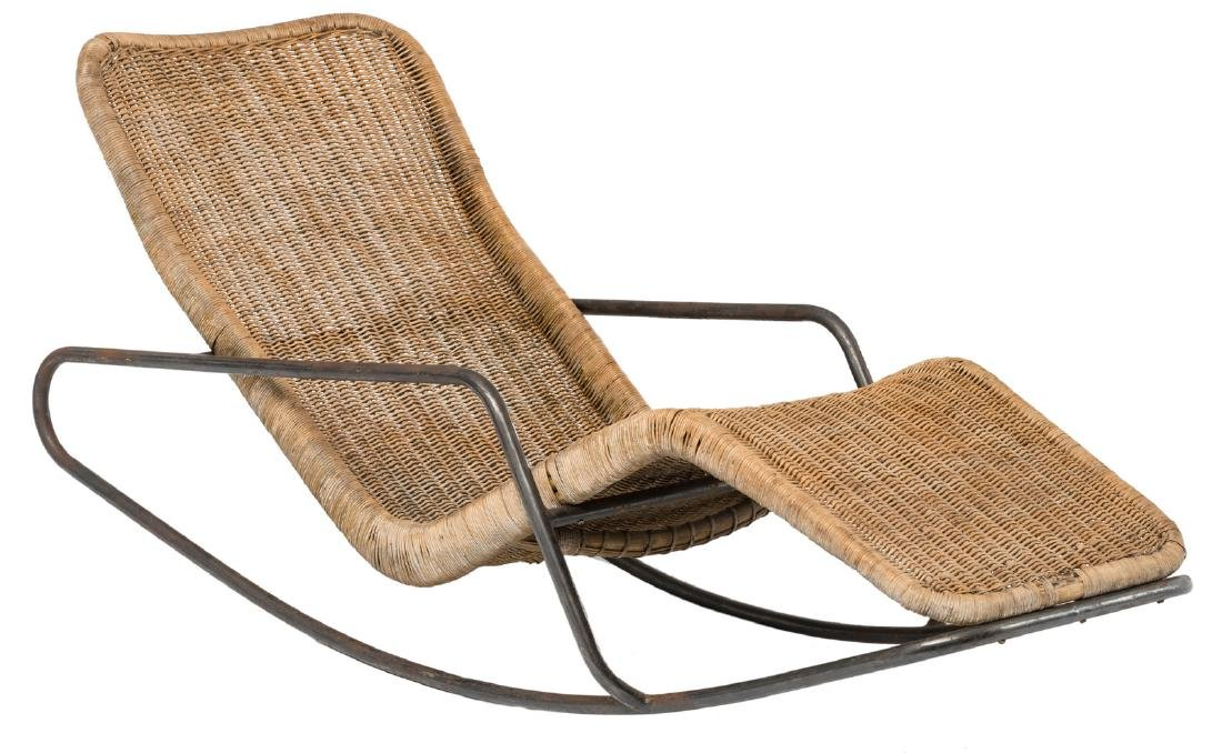 A rocking lounge chair by Dirk Van Sliedrecht, rattan f