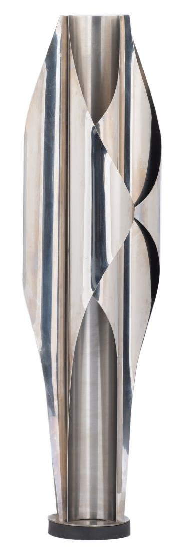 A rare design lamp on wooden base from the 'Inox Collec