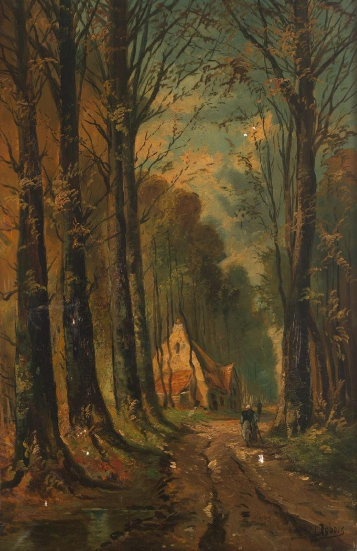 Dubois L., the wood cabin, oil on canvas, early 20thC,