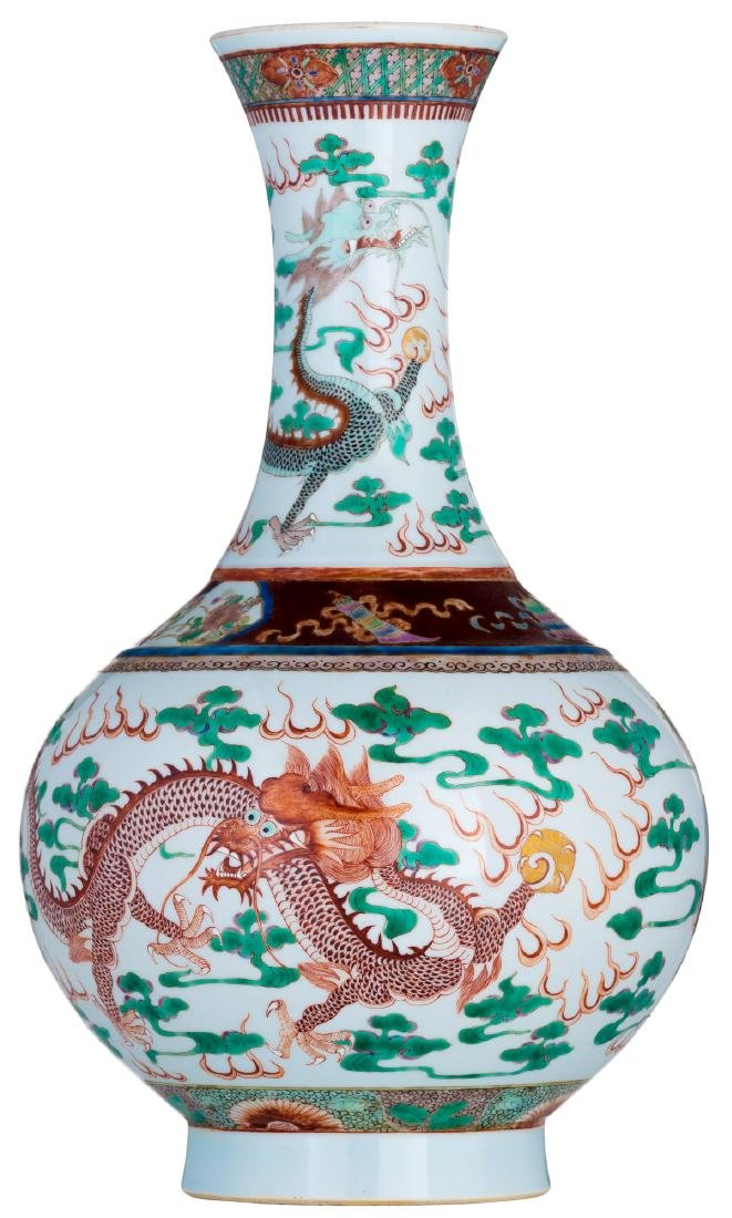 A Chinese famille verte bottle vase, decorated with