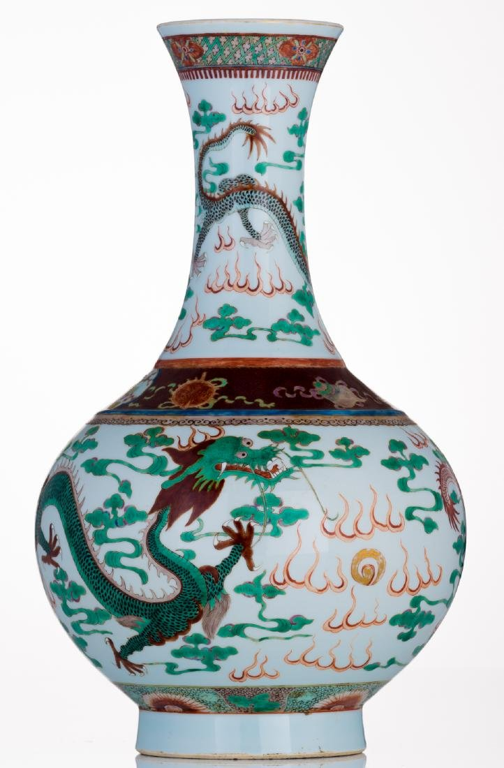 A Chinese famille verte bottle vase, decorated with - 3