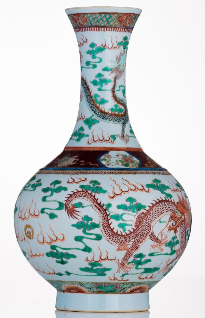 A Chinese famille verte bottle vase, decorated with - 4