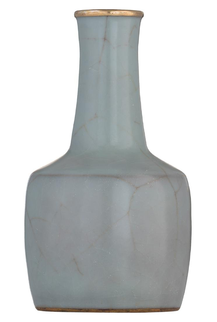 A Chinese celadon crackleware mallet shaped vase with