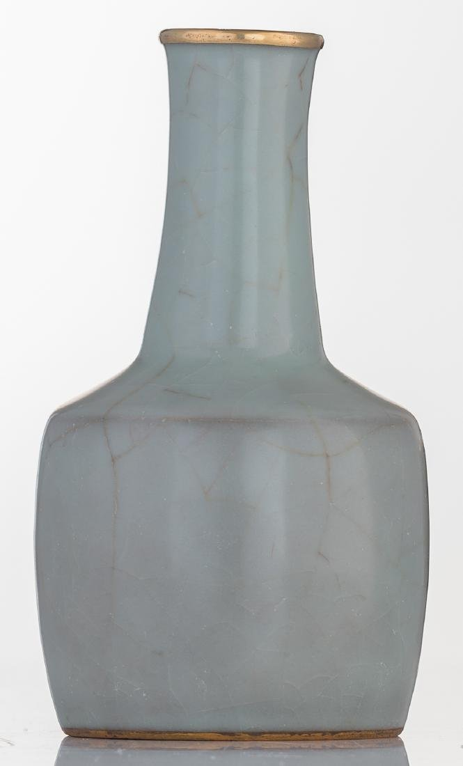 A Chinese celadon crackleware mallet shaped vase with - 2