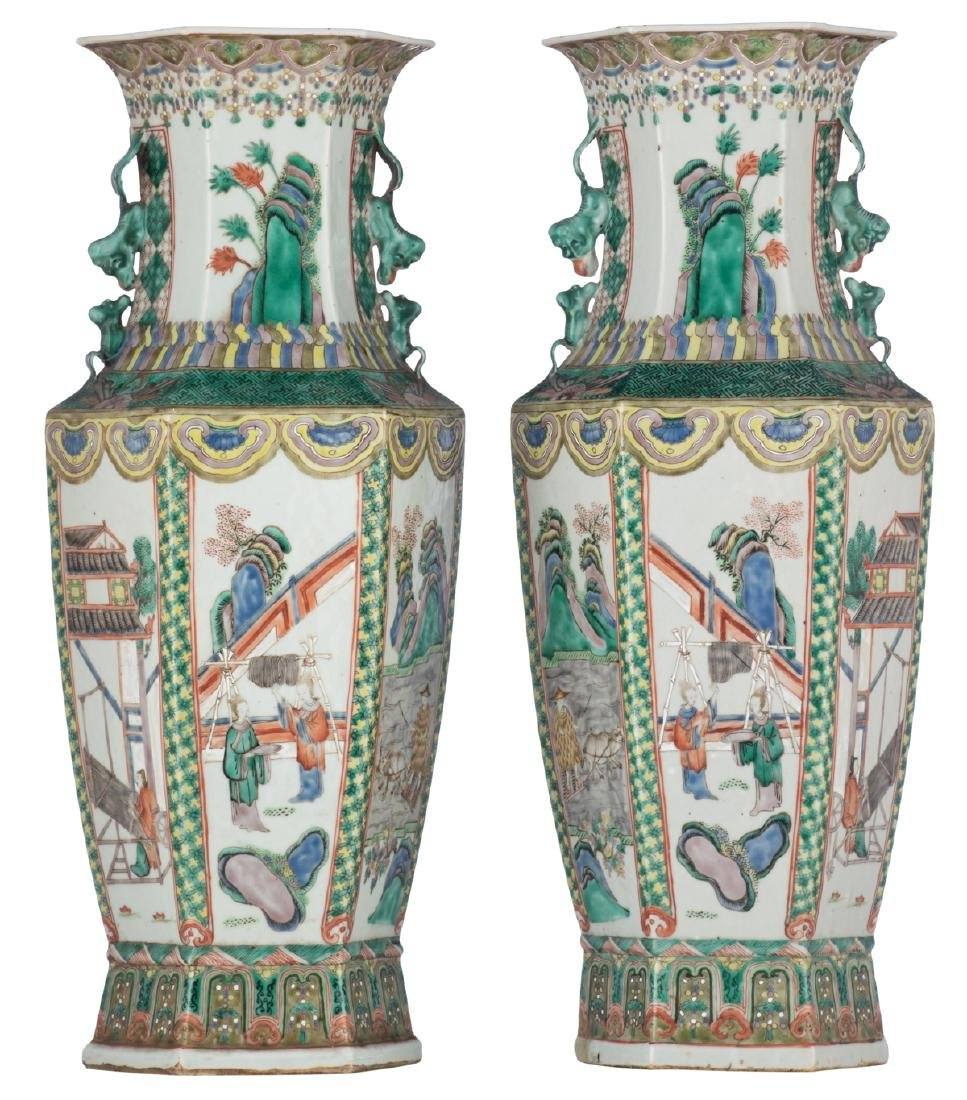 A pair of Chinese famille verte hexagonal vases, the