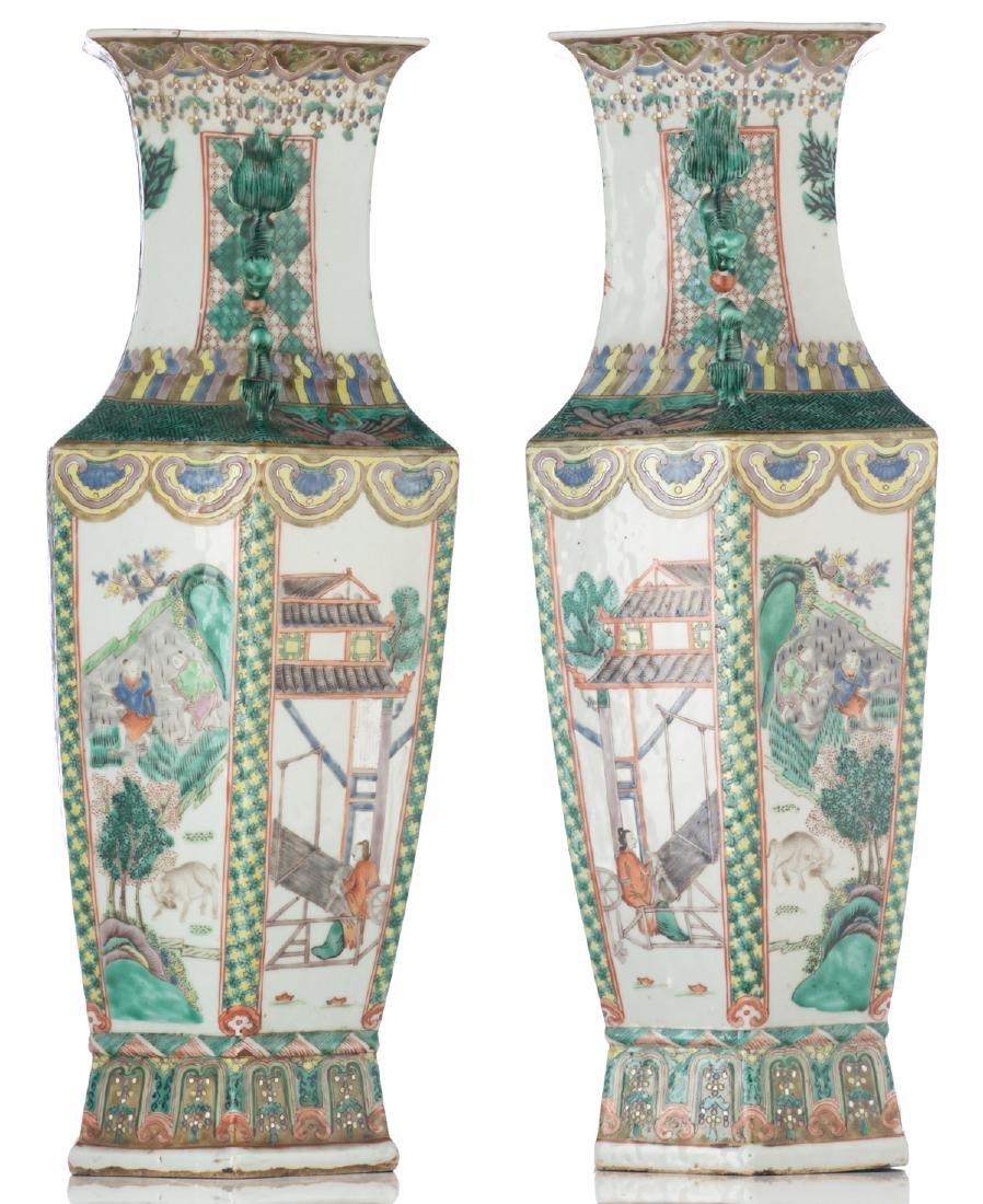 A pair of Chinese famille verte hexagonal vases, the - 2