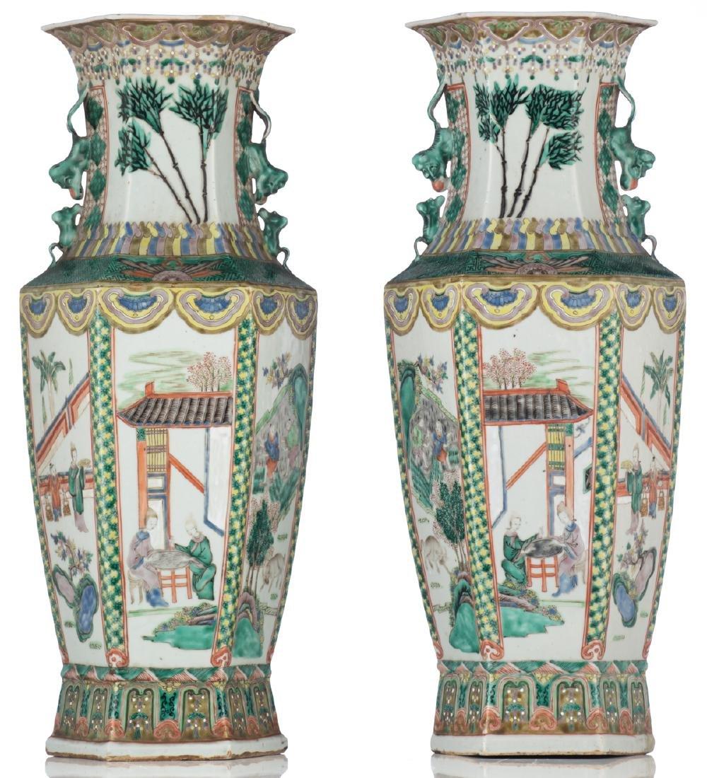 A pair of Chinese famille verte hexagonal vases, the - 3