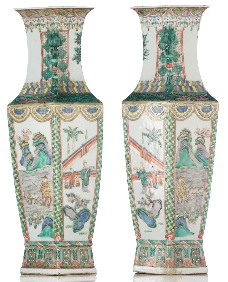 A pair of Chinese famille verte hexagonal vases, the - 4