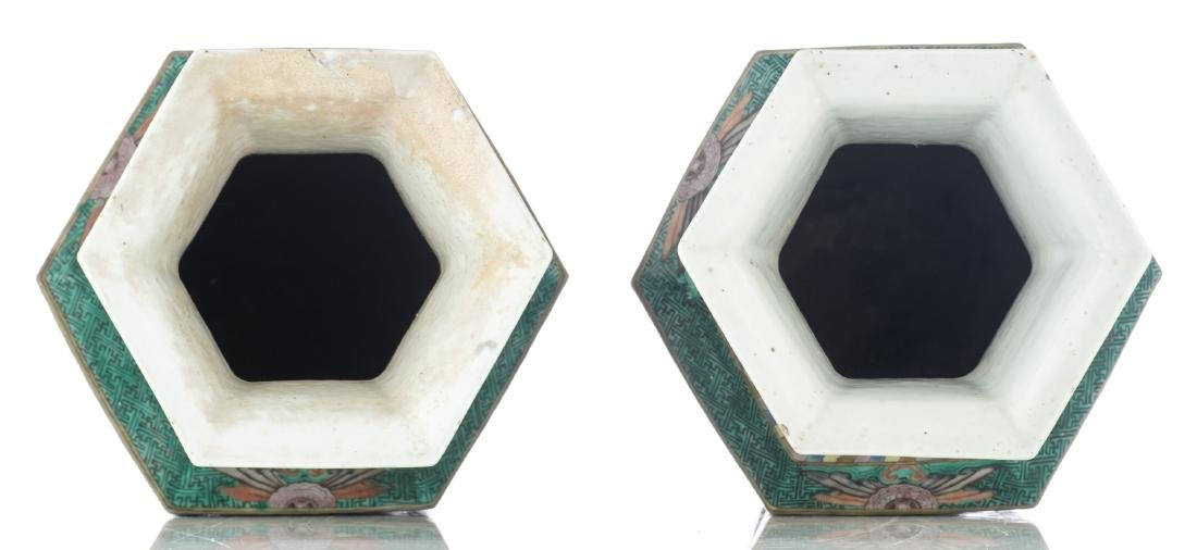 A pair of Chinese famille verte hexagonal vases, the - 5