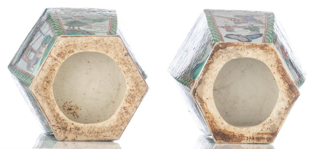 A pair of Chinese famille verte hexagonal vases, the - 6