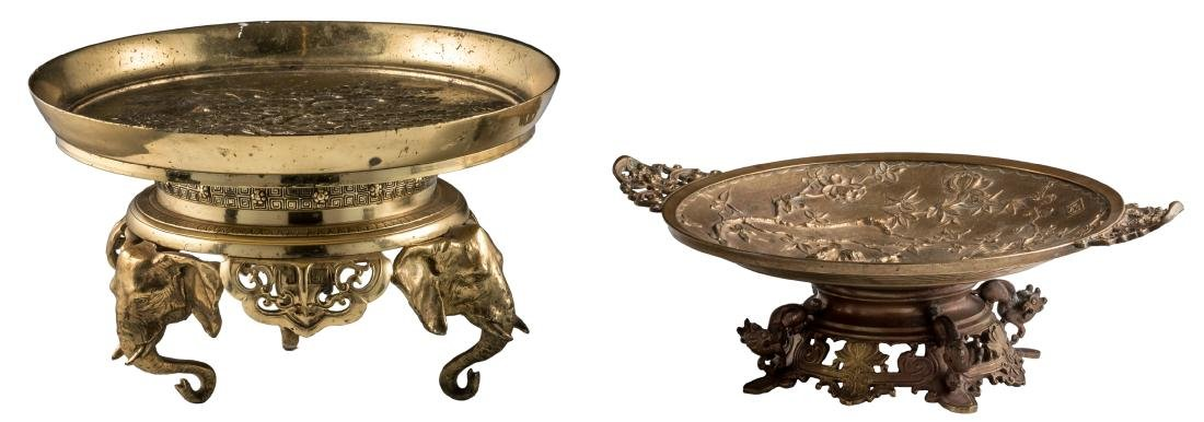 A bronze ornamental footed dish, the well decorated