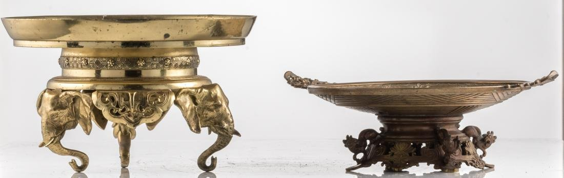 A bronze ornamental footed dish, the well decorated - 2