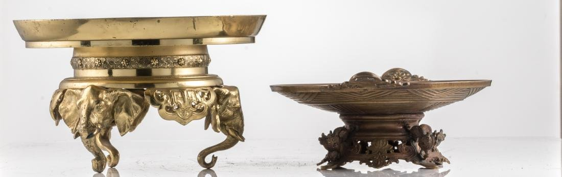 A bronze ornamental footed dish, the well decorated - 3