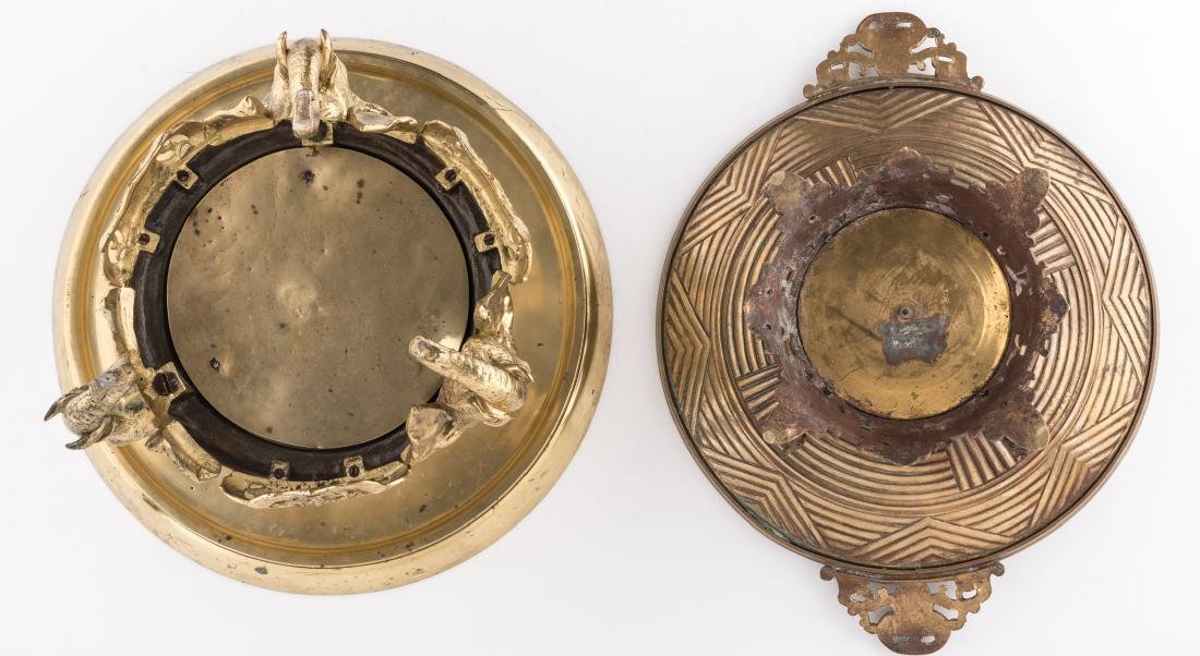 A bronze ornamental footed dish, the well decorated - 7
