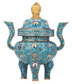 A Chinese tripod cloisonne incense burner with a gilt