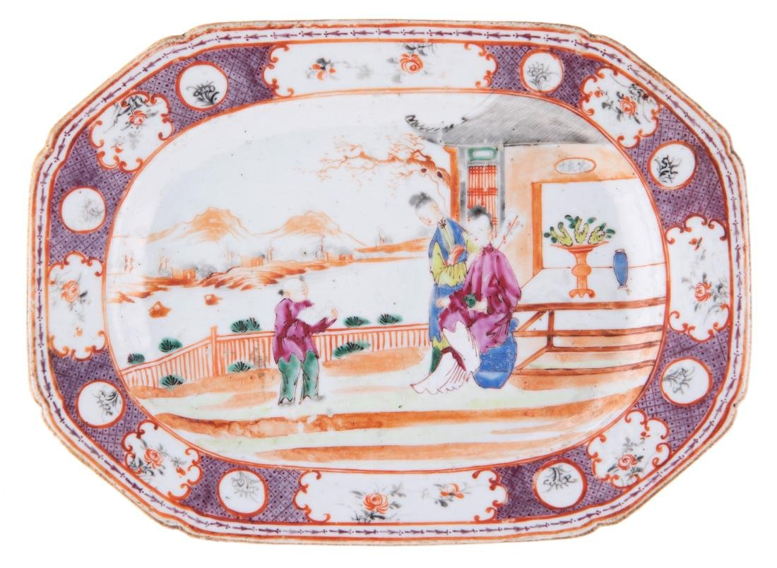 A Chinese octagonal famille rose deep dish, decorated