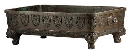 A Chinese rectangular bronze incense burner, with