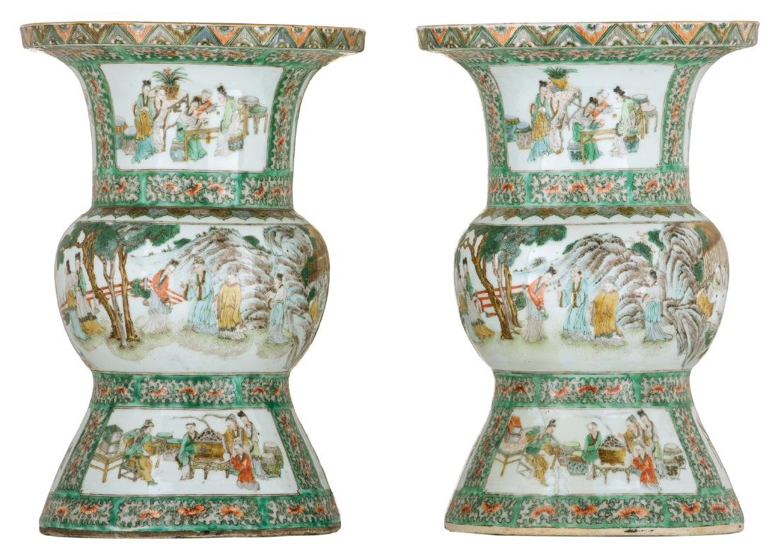 Two Chinese famille verte beaker vases, decorated with