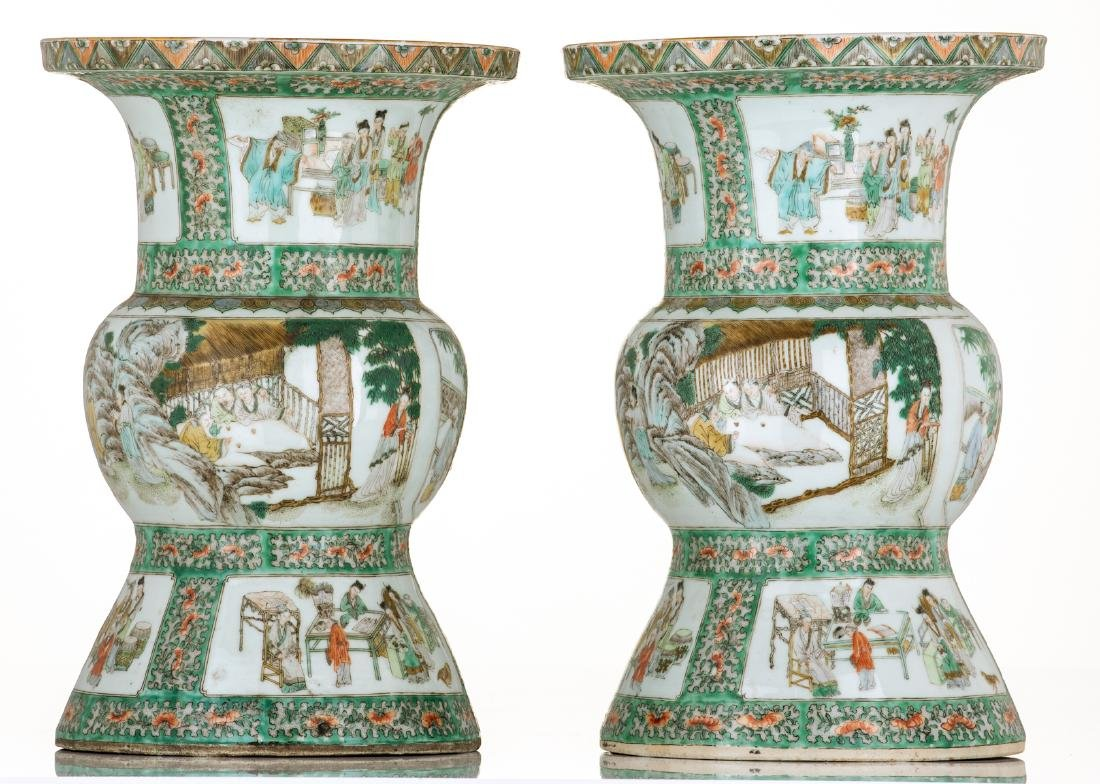 Two Chinese famille verte beaker vases, decorated with - 2