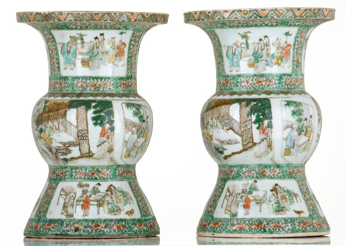Two Chinese famille verte beaker vases, decorated with - 3
