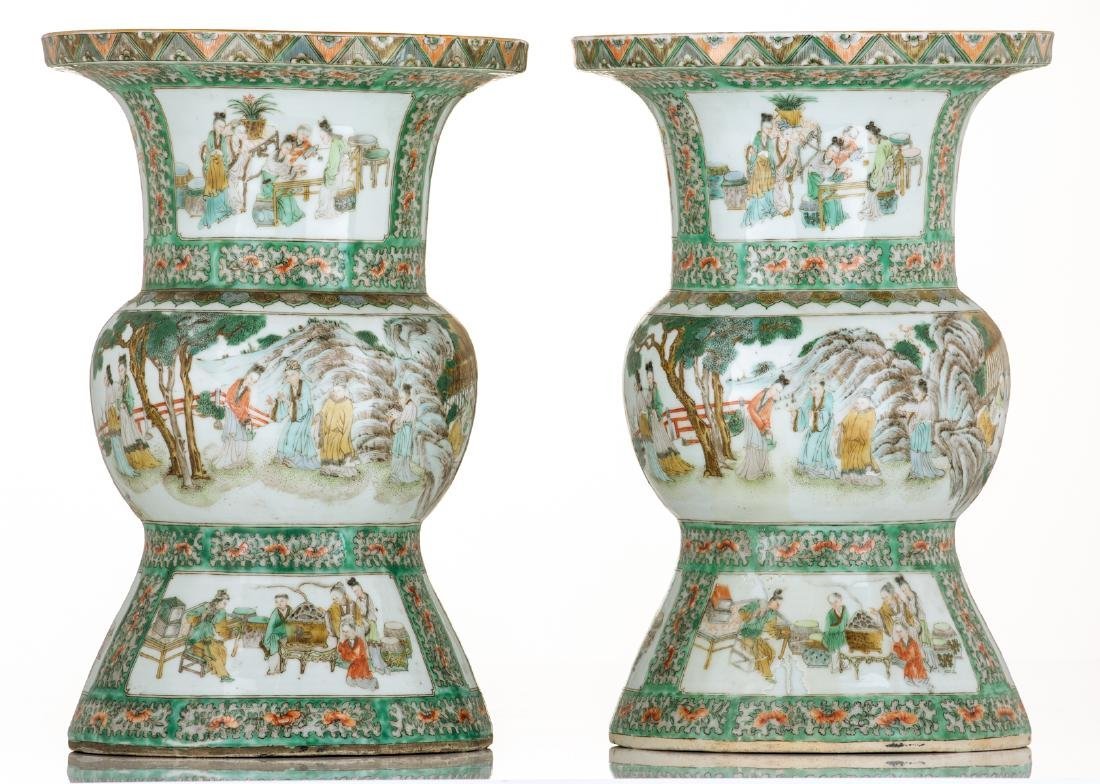 Two Chinese famille verte beaker vases, decorated with - 5