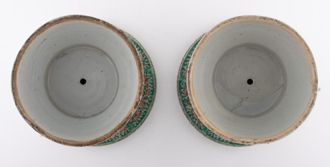 Two Chinese famille verte beaker vases, decorated with - 7