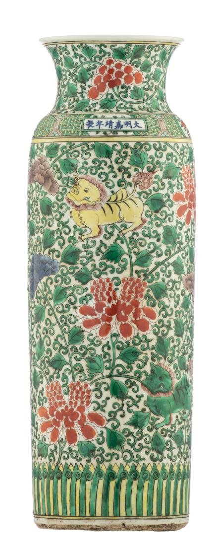 A large Chinese famille verte cylindrical vase,